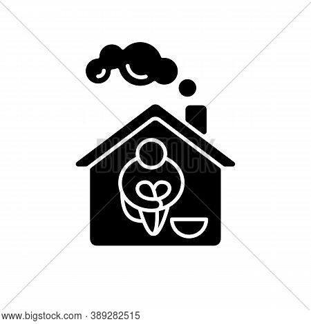 Homeless Shelter Black Glyph Icon. Temporary Residence For Homeless Individuals And Families. Safety