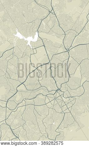 Detailed Map Of Belo Horizonte City Administrative Area. Royalty Free Vector Illustration. Cityscape