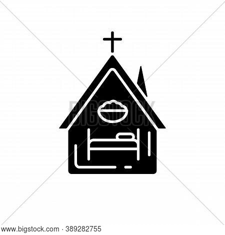 Religious Shelter Black Glyph Icon. Night Time Shelter Opportunity. Church. Synagogue. Homeless Prev
