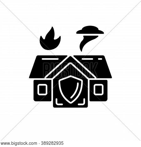 Emergency Shelter Black Glyph Icon. Temporary Residence. Natural Disasters. Domestic Violence. Emerg