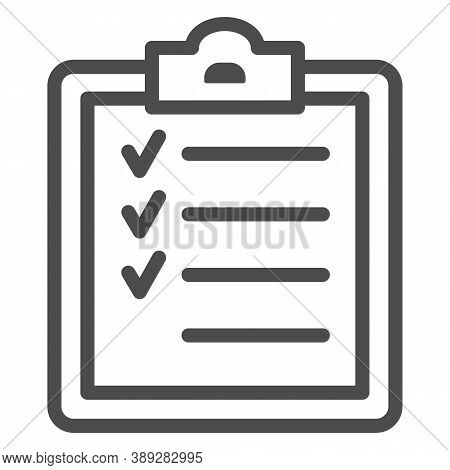 Sport Training Program Line Icon, Gym Concept, Fitness Plan Sign On White Background, Completing Wor
