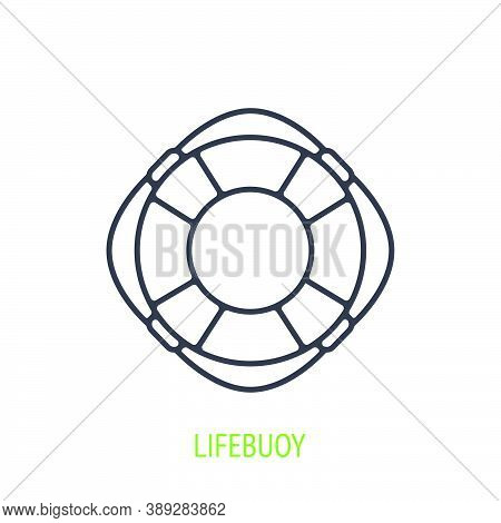 Beach Lifebuoy Outline Icon. Vector Illustration. Emergency Rescue Symbol At Water Or Sea. Thin Line