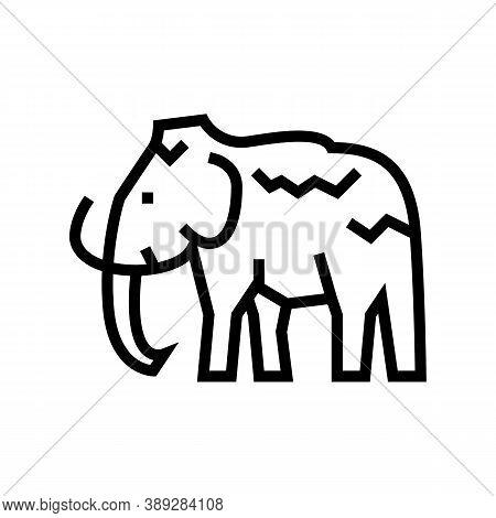 Mammoth Animal Line Icon Vector. Mammoth Animal Sign. Isolated Contour Symbol Black Illustration