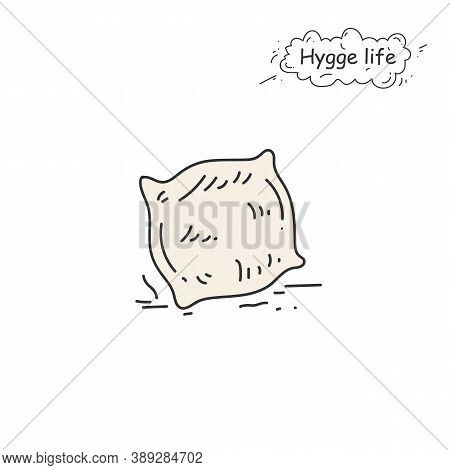 Fur Pillow Color Icon. Coziness, Hominess Atmosphere In Simple Things. Hygge Life. Cozy Home Concept