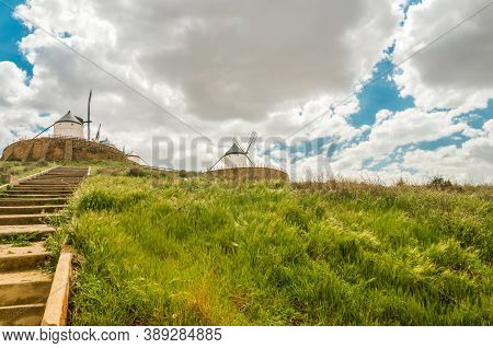 Windmills In Don Quixote Route In Consuegra, Toledo, Spain