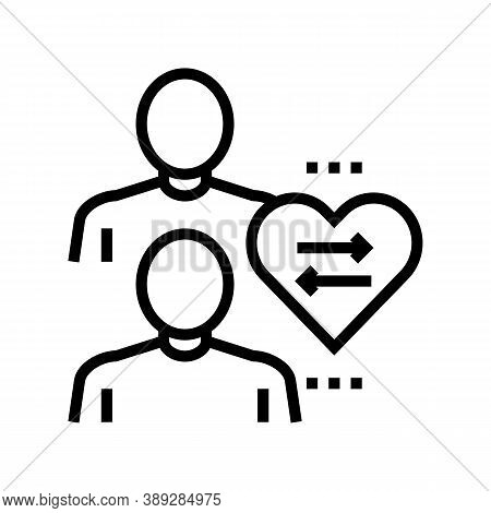 Donor And Disease Patient Line Icon Vector. Donor And Disease Patient Sign. Isolated Contour Symbol