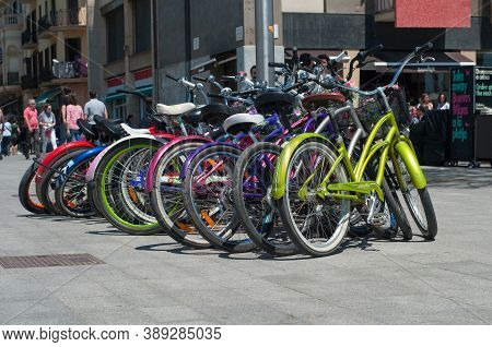 Barcelona, Spain - June 2, 2013: Parking With Bicycles Bicycles In Barcelona, Spain