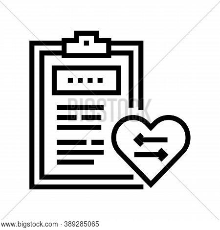 Patient Medical Card For Heart Transplant Line Icon Vector. Patient Medical Card For Heart Transplan