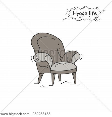 Soft Armchair Color Icon. Coziness, Hominess Atmosphere In Simple Things. Hygge Life. Cozy Home Conc