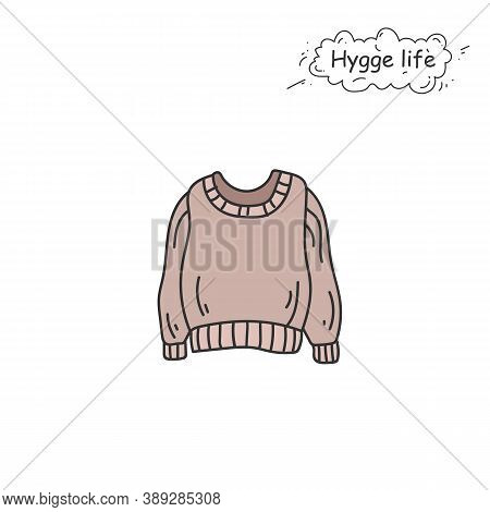 Knitted Sweater Color Icon. Coziness, Hominess Atmosphere In Simple Things. Hygge Life. Cozy Fashion