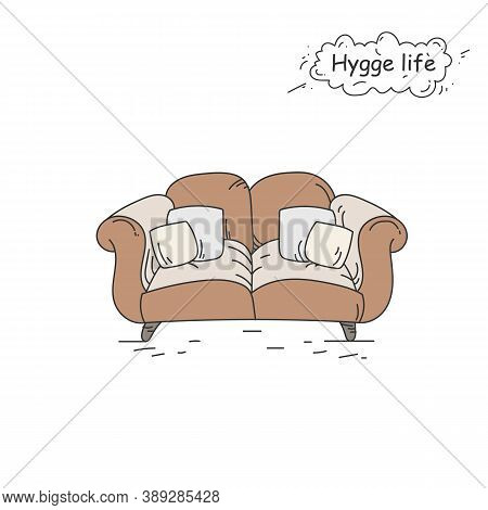Couch Color Icon. Coziness, Hominess Atmosphere In Simple Things. Hygge Life. Cozy Home Concept. Sca