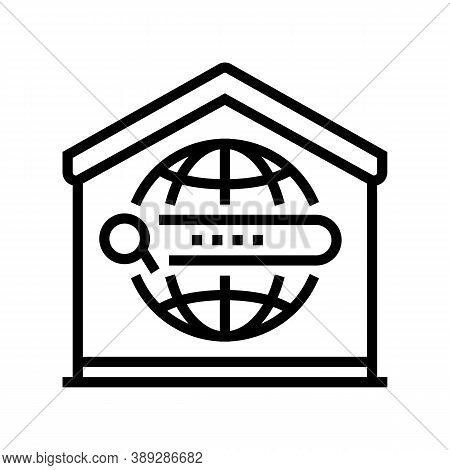 Search Web Site At Home Line Icon Vector. Search Web Site At Home Sign. Isolated Contour Symbol Blac