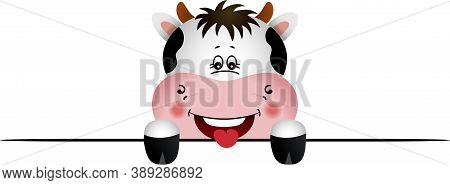 Scalable Vectorial Representing A Cute Friendly Cow Peeking Out, Element For Design, Illustration Is