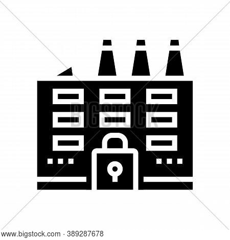 Closed Factory Glyph Icon Vector. Closed Factory Sign. Isolated Contour Symbol Black Illustration