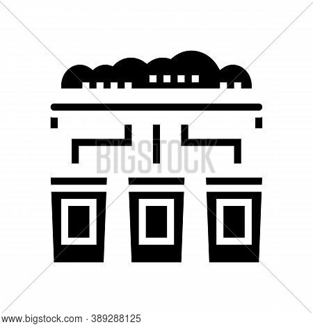 Garbage Sorting Machine Glyph Icon Vector. Garbage Sorting Machine Sign. Isolated Contour Symbol Bla