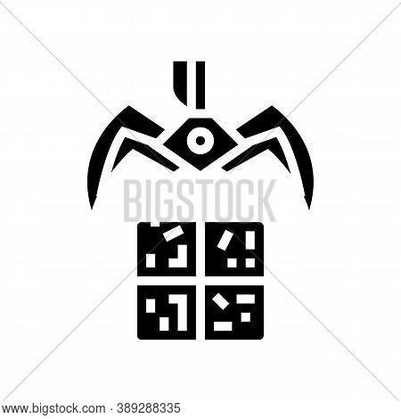 Landfill Claw Loader Glyph Icon Vector. Landfill Claw Loader Sign. Isolated Contour Symbol Black Ill
