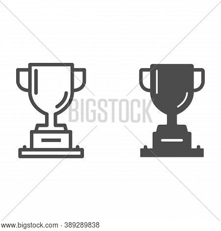 Winner Cup Line And Solid Icon, Sports And Competition Concept, Trophy Sign On White Background, Cha