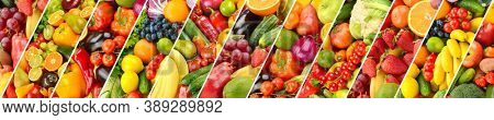 Collage fresh bright vegetables and fruits separated slanted lines.