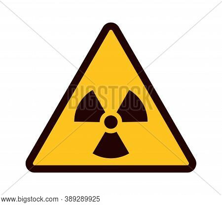 Warning Sign. Yellow Triangle With Black Attention Symbol, Radioactive Area Emblem, Dangerous Pollut
