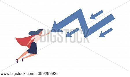 Woman Stopping Falling Arrow. Superhero Businesswoman Flying, Stop Economic Crisis, Financial Proble
