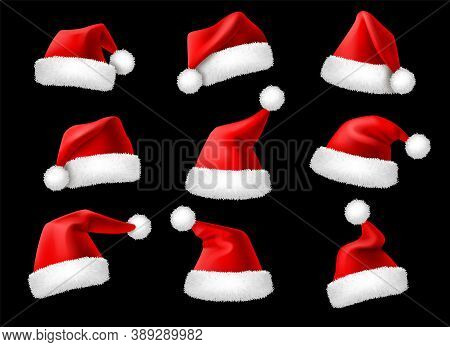 Santa Claus Hats. Realistic Christmas Holiday Red Caps, Winter Holiday Clothes Decor Elements, 3d Ac