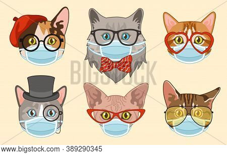 Cat In Face Mask. Cute Funny Hipster Heads Cats Muzzles In Medical Masks, Happy Pets Portrait Sticke
