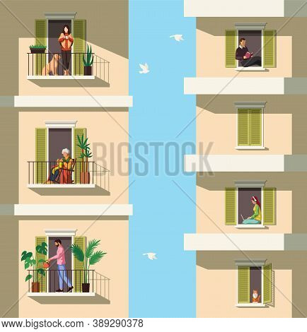 Neighbors On Balconies. People Rest With Pets, Reading, Watering Plant On Balcony Apartment Building
