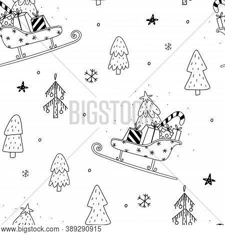 Seamless Pattern Vector Illustration. Cozy Rustic Merry Christmas Pattern. Scandinavian Print - Happ
