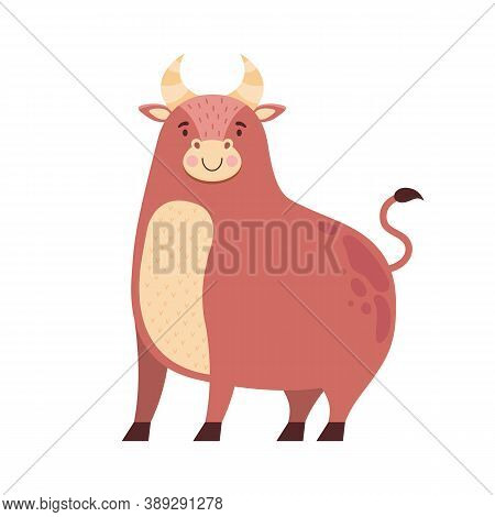 Cute Cartoon Bull Isolated On A White Background. Symbol Of The 2021 New Year. Zodiac Sign Taurus. F