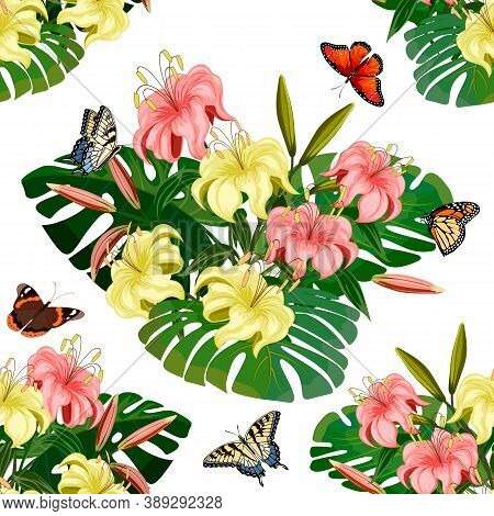 Palm Leaves And Lilies Pattern.colored Seamless Pattern Of Bouquets Of Lilies And Palm Leaves On A W