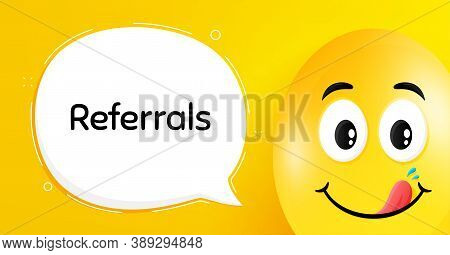 Referrals Symbol. Easter Egg With Yummy Smile Face. Referral Program Sign. Advertising Reference. Ea