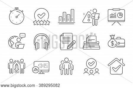 Timer, Presentation And Group Line Icons Set. Typewriter, Report Statistics And Rating Stars Signs.