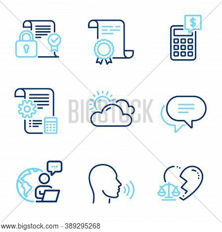 Business Icons Set. Included Icon As Divorce Lawyer, Sunny Weather, Text Message Signs. Security Con