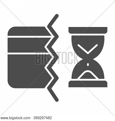 Half Of Bank Card And Hourglass Solid Icon, Payment Problem Concept, Credit Card Operation In Progre