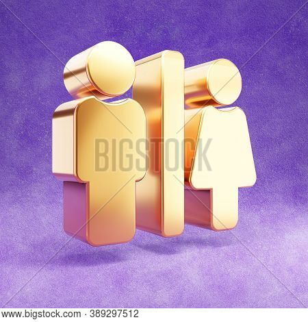 Restroom Icon. Gold Glossy Restroom Symbol Isolated On Violet Velvet Background. Modern Icon For Web
