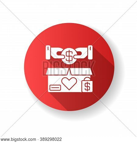 Charity Shop Red Flat Design Long Shadow Glyph Icon. Charitable Sale, Nonprofit Organization. Collec