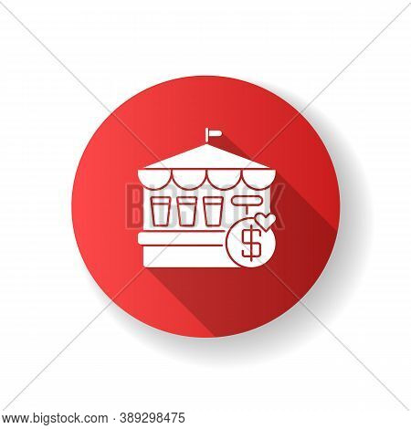 Fete Red Flat Design Long Shadow Glyph Icon. Traditional Market Festival, Public Trade Fair. Street