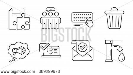 Computer Keyboard, Trash Bin And Employees Group Line Icons Set. Strategy, Online Survey And Confirm