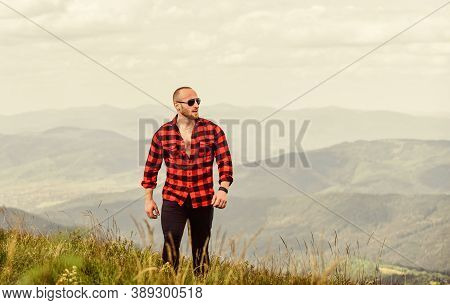 Open Spaces. Man On Mountain Landscape. Camping And Hiking. Travelling Adventure. Hipster Fashion. S
