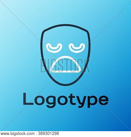 Line Drama Theatrical Mask Icon Isolated On Blue Background. Colorful Outline Concept. Vector