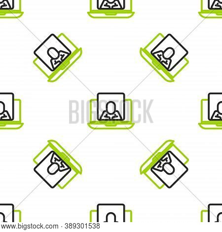 Line Online Psychological Counseling Distance Icon Isolated Seamless Pattern On White Background. Ps