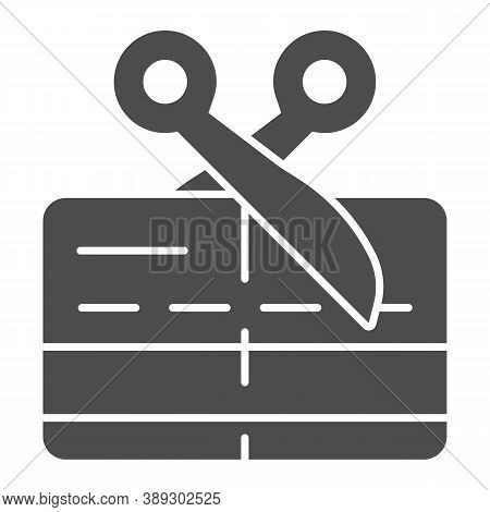 Scissors And Credit Card Solid Icon, Payment Problem Concept, Card Declined Sign On White Background
