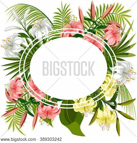 Illustration With Frame And Lilies.colored Illustration With Frame, Palm Leaves And Lilies.