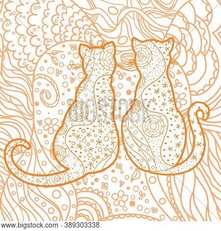 Square Intricate Background. Hand Drawn Pattern With Cats. Design For Spiritual Relaxation For Adult