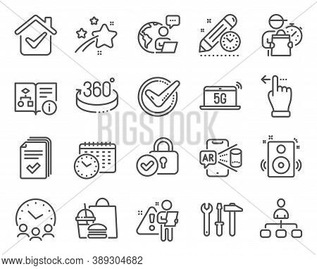 Technology Icons Set. Included Icon As Touchscreen Gesture, Technical Algorithm, Speakers Signs. Man