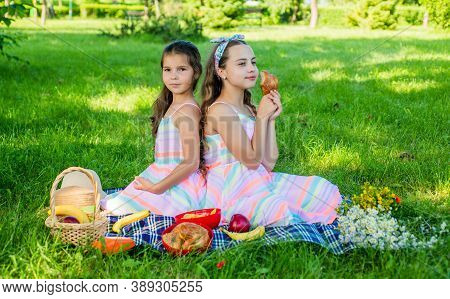 Family Picnic. Little Girls Eat Picnic Meal On Green Grass. Summer Vacation. Eating Outdoors. Enjoy