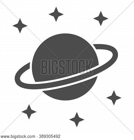 Planet Saturn Solid Icon, Space Concept, Planet And Stars Sign On White Background, Saturn With Plan