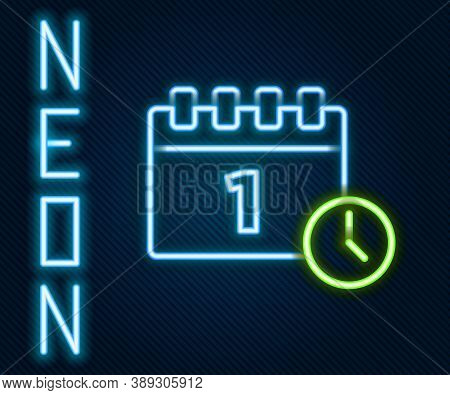 Glowing Neon Line Calendar With First September Date Icon Isolated On Black Background. September 1.