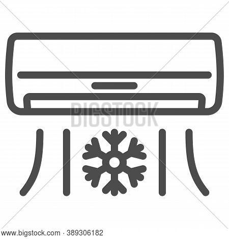 Air Conditioner Line Icon, Gym Concept, Air Cooling With Snowflake Sign On White Background, Air Con