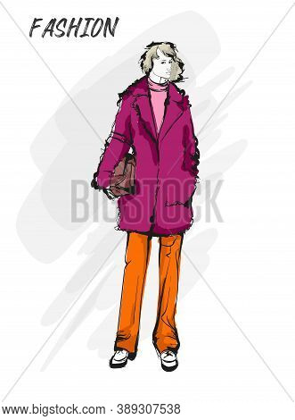 Beautiful Young Blonde Hair Woman In Autumn Coat. Hand Drawn Fashion Girl. Fashion Model Posing. Ske